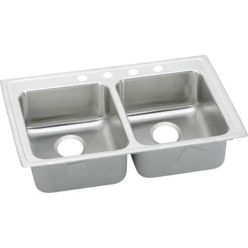 Elkay Lustertone Classic 33-In 18 Gauge Stainless Steel Double-Bowl Top-Mount Kitchen ADA Sink