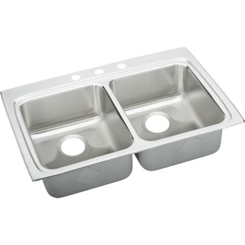 Elkay Lustertone Classic 33-In 18 Gauge Stainless Steel Double-Bowl Top-Mount ADA Kitchen Sink