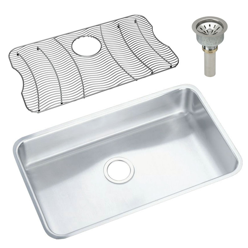 Elkay Gourmet Lustertone Stainless Steel Single-Bowl Undermount Sink Kit