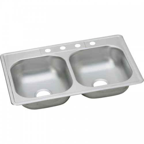 Dayton Classic 33-In Stainless Steel Double-Bowl Top-Mount Sink