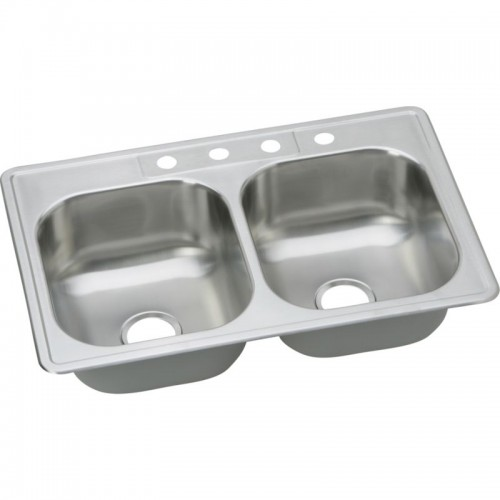 Dayton Elite 33-In Stainless Steel Double-Bowl Top-Mount Sink