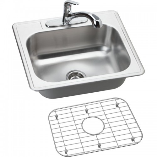 Dayton Elite 25-In Stainless Steel Single-Bowl Top-Mount Sink And Faucet Kit