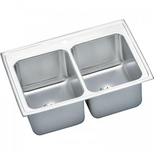 Elkay Gourmet Lustertone Stainless Steel Double-Bowl Top-Mount Sink Kit