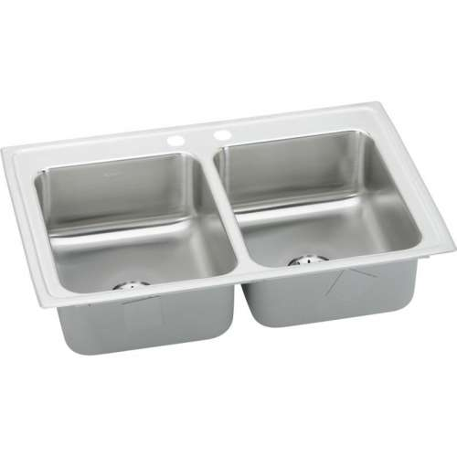 Elkay Lustertone Classic 33-In 18 Gauge Stainless Steel Double-Bowl Top-Mount Kitchen Sink