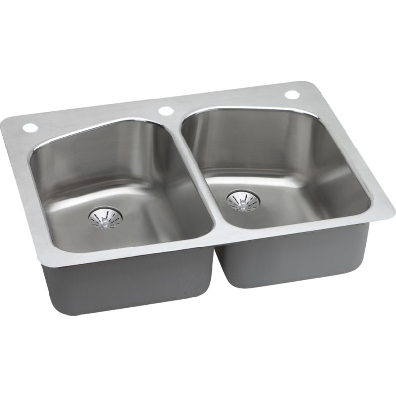 Elkay Lustertone Classic 33-In 18 Gauge Stainless Steel Double-Bowl Dual Mount Kitchen Sink Kit