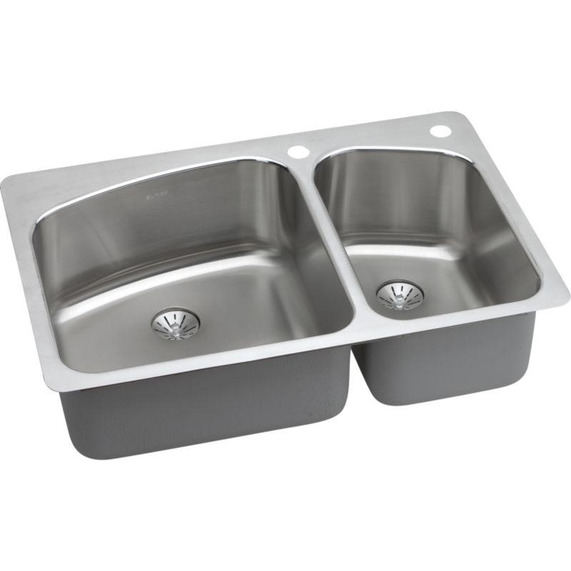 Elkay Lustertone Classic 33-In 18 Gauge Stainless Steel Double-Bowl Dual Mount Kitchen Sink Kit