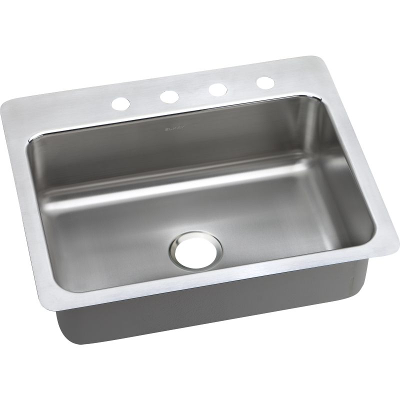 Elkay Lustertone Classic 27-In 18 Gauge Stainless Steel Single-Bowl Dual-Mount Kitchen Sink