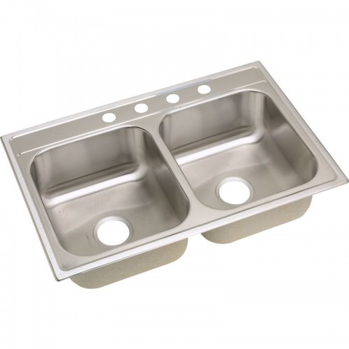 Dayton Premium 33-In Stainless Steel Double-Bowl Top-Mount Sink