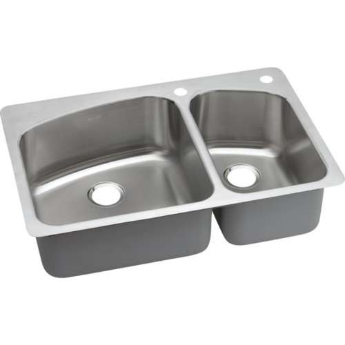 Dayton Premium 33-In Stainless Steel Double-Bowl Dual-Mount Sink