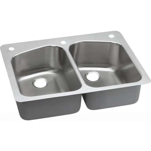 Dayton Premium 33-In Stainless Steel Double-Bowl Dual-Mount Sink