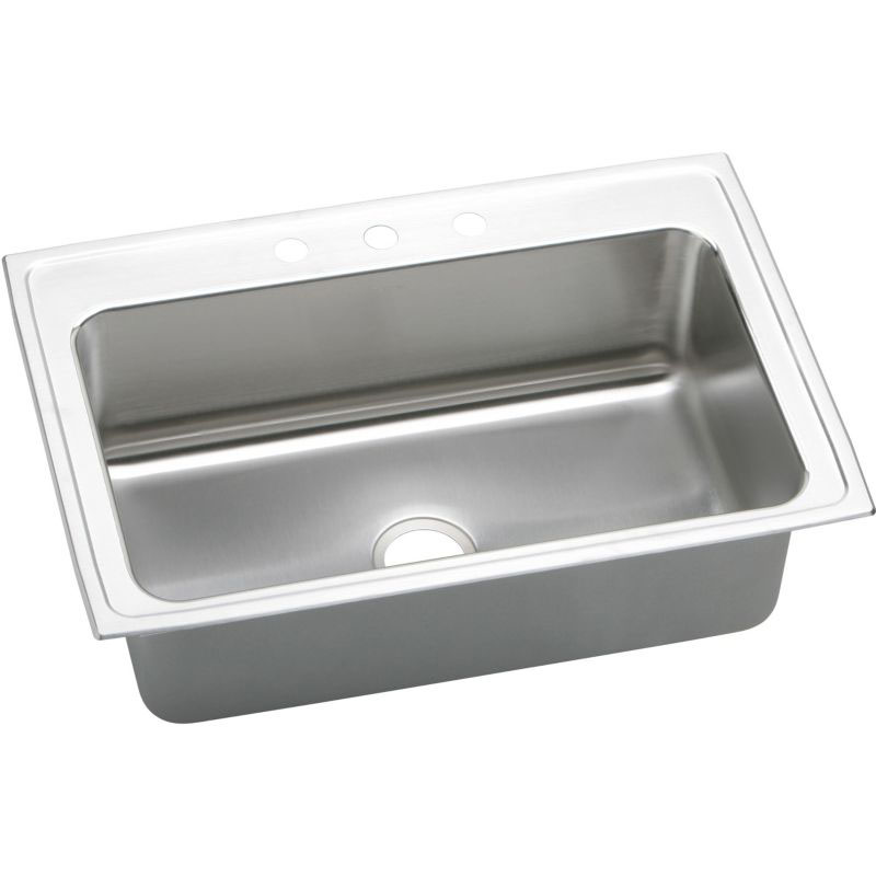 Elkay Lustertone Classic 27-In 18 Gauge Stainless Steel Single-Bowl Dual-Mount Kitchen Sink