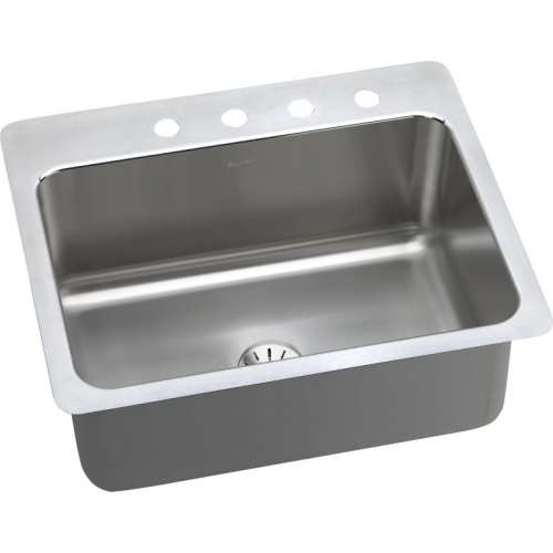 Elkay Lustrous Highlighted Satin Stainless Steel Single-Bowl Dual-Mount Sink Kit