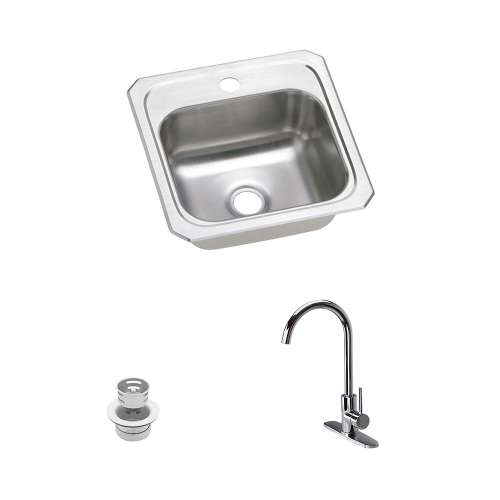 Elkay Celebrity Stainless Steel 15-In Drop-In Kitchen Sink Kit With Kitchen Sink, Faucet, Strainer