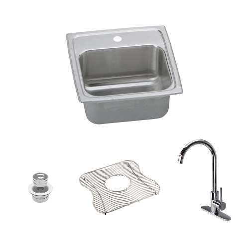 Elkay Lustertone Classic Stainless Steel 15-In Drop-In Kitchen Sink Kit With Kitchen Sink, Bottom Grid, Faucet, Strainer