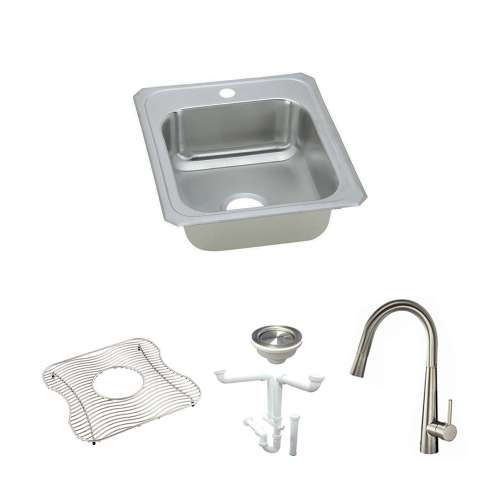 Elkay Celebrity Stainless Steel 17-In Drop-In Kitchen Sink Kit With Kitchen Sink, Bottom Grid, Faucet, Strainer, Drain Installation Kit