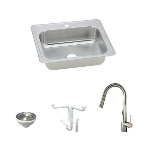 Elkay Celebrity Stainless Steel 25-In Drop-In Kitchen Sink Kit With Kitchen Sink, Faucet, Strainer, Drain Installation Kit