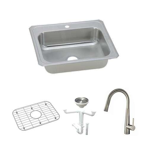 Elkay Celebrity Stainless Steel 25-In Drop-In Kitchen Sink Kit With Kitchen Sink, Bottom Grid, Faucet, Strainer, Drain Installation Kit