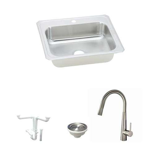 Elkay Celebrity Stainless Steel 31-In Drop-In Kitchen Sink Kit With Kitchen Sink, Faucet, Strainer, Drain Installation Kit