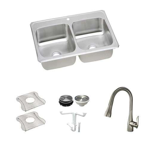 Elkay Celebrity Stainless Steel 33-In Drop-In Kitchen Sink Kit With Kitchen Sink, Bottom Grids, Faucet, Strainer, Disposer Strainer, Drain Installation Kit