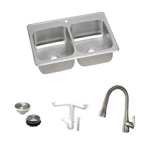 Elkay Celebrity Stainless Steel 43-In Drop-In Kitchen Sink Kit With Kitchen Sink, Faucet, Strainer, Disposer Strainer, Drain Installation Kit