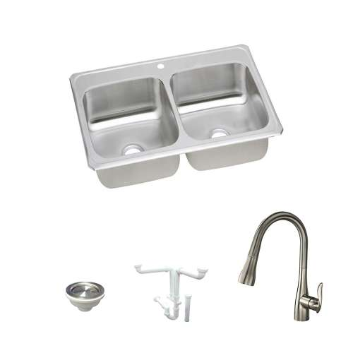 Elkay Celebrity Stainless Steel 33-In Drop-In Kitchen Sink Kit With Kitchen Sink, Faucet, Strainer, Drain Installation Kit
