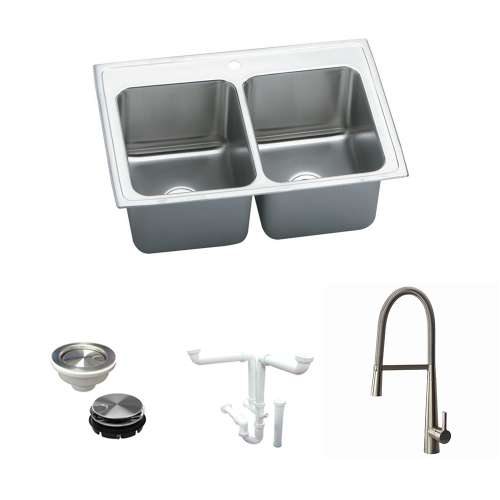 Elkay Lustertone Classic Stainless Steel 37-In Drop-In Kitchen Sink Kit With Kitchen Sink, Faucet, Strainer, Disposer Strainer, Drain Installation Kit