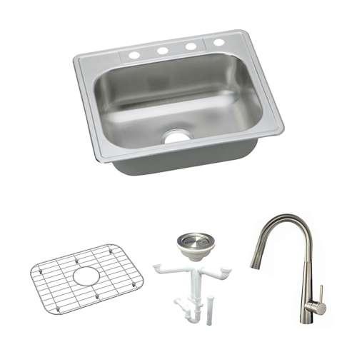 Elkay Elite Stainless Steel 25-In Drop-In Kitchen Sink Kit With Kitchen Sink, Bottom Grid, Faucet, Strainer, Drain Installation Kit