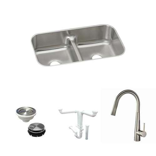 Elkay Gourmet Stainless Steel 33-In Undermount Kitchen Sink Kit With Kitchen Sink, Faucet, Strainer, Disposer Strainer, Drain Installation Kit