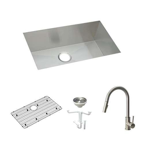 Elkay Crosstown Stainless Steel 31-In Undermount Kitchen Sink Kit With Kitchen Sink, Bottom Grid, Faucet, Strainer, Drain Installation Kit