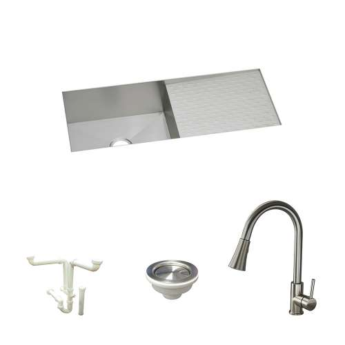 Elkay Avado Stainless Steel 44-In Undermount Kitchen Sink Kit With Kitchen Sink, Faucet, Strainer, Drain Installation Kit
