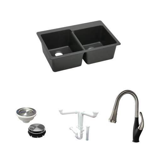 Elkay E-Granite Quartz 33-In Drop-In Kitchen Sink Kit With Kitchen Sink, Faucet, Strainer, Disposer Strainer, Drain Installation Kit - In Multiple Colors