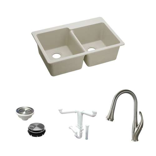 Elkay E-Granite Quartz 33-In Drop-In Kitchen Sink Kit With Kitchen Sink, Faucet, Strainer, Disposer Strainer, Drain Installation Kit