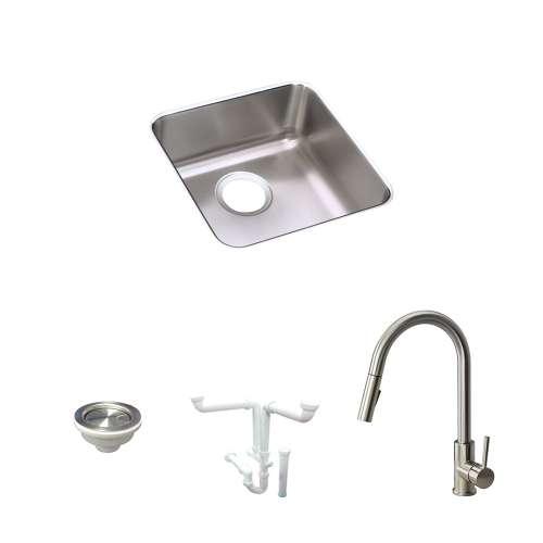 Elkay Gourmet Lustertone Stainless Steel 15-In Undermount Kitchen Sink Kit With Kitchen Sink, Faucet, Strainer, Drain Installation Kit