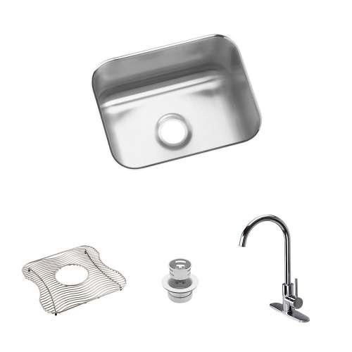 Elkay Gourmet Lustertone Stainless Steel 15-In Undermount Kitchen Sink Kit With Kitchen Sink, Bottom Grid, Faucet, Strainer