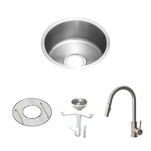 Elkay The Mystic Lustertone Stainless Steel 14-In Undermount Kitchen Sink Kit With Kitchen Sink, Bottom Grid, Faucet, Strainer, Drain Installation Kit