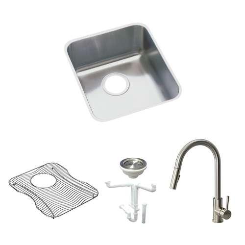 Elkay Gourmet Lustertone Stainless Steel 16-In Undermount Kitchen Sink Kit With Kitchen Sink, Bottom Grid, Faucet, Strainer, Drain Installation Kit