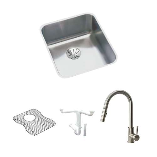 Elkay Gourmet Lustertone Stainless Steel 16-In Undermount Kitchen Sink Kit With Kitchen Sink, Bottom Grid, Faucet, Perfect Drain Edgeless Drain, Drain Installation Kit