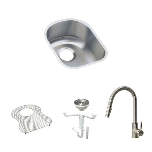Elkay Harmony Lustertone Stainless Steel 14-In Undermount Kitchen Sink Kit With Kitchen Sink, Bottom Grid, Faucet, Strainer, Drain Installation Kit