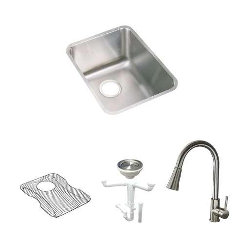 Elkay Gourmet Lustertone Stainless Steel 17-In Undermount Kitchen Sink Kit With Kitchen Sink, Bottom Grid, Faucet, Strainer, Drain Installation Kit