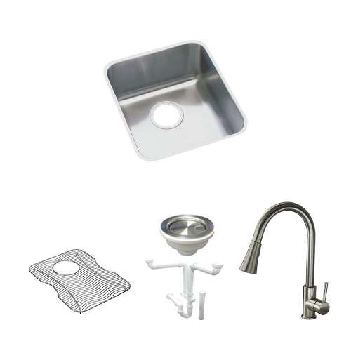 Elkay Gourmet Lustertone Stainless Steel 19-In Undermount Kitchen Sink Kit With Kitchen Sink, Bottom Grid, Faucet, Strainer, Drain Installation Kit