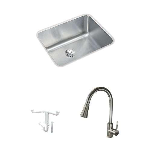 Elkay Gourmet Lustertone Stainless Steel 21-In Undermount Kitchen Sink Kit With Kitchen Sink, Faucet, Perfect Drain Edgeless Drain, Drain Installation Kit