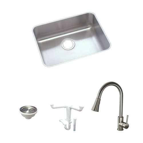 Elkay Gourmet Lustertone Stainless Steel 22-In Undermount Kitchen Sink Kit With Kitchen Sink, Faucet, Strainer, Drain Installation Kit