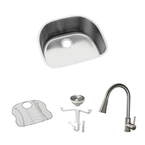 Elkay Harmony Lustertone Stainless Steel 24-In Undermount Kitchen Sink Kit With Kitchen Sink, Bottom Grid, Faucet, Strainer, Drain Installation Kit