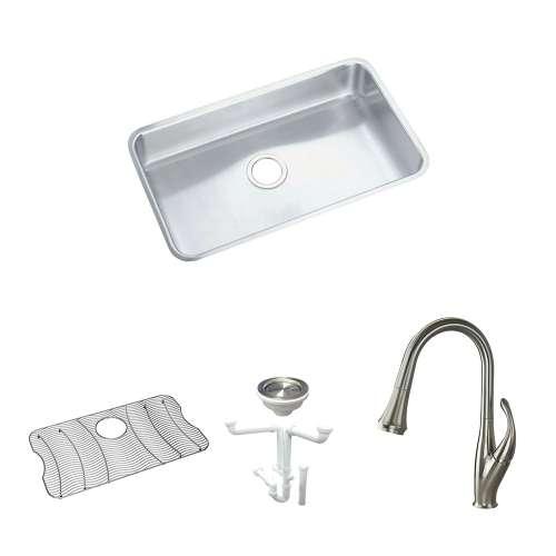 Elkay Gourmet Lustertone Stainless Steel 31-In Undermount Kitchen Sink Kit With Kitchen Sink, Bottom Grid, Faucet, Strainer, Drain Installation Kit