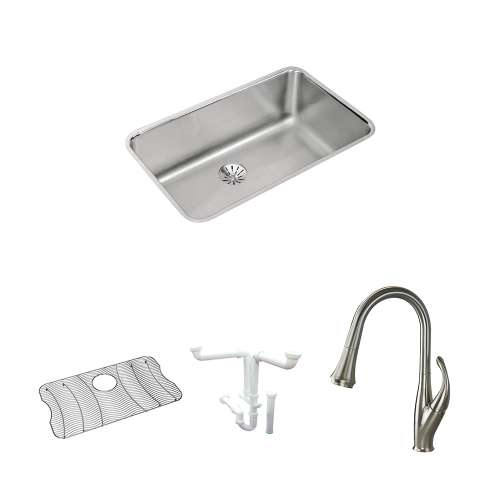 Elkay Gourmet Lustertone Stainless Steel 31-In Undermount Kitchen Sink Kit With Kitchen Sink, Bottom Grid, Faucet, Perfect Drain Edgeless Drain, Drain Installation Kit