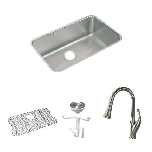 Elkay Gourmet Lustertone Stainless Steel 31-In Undermount Kitchen Sink Kit With Kitchen Sink, Bottom Grid, Faucet, Strainer, Drain Installation Kit