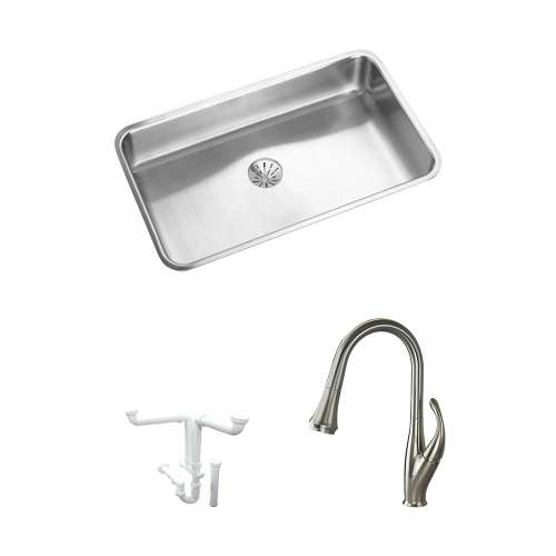 Elkay Gourmet Lustertone Stainless Steel 31-In Undermount Kitchen Sink Kit With Kitchen Sink, Faucet, Perfect Drain Edgeless Drain, Drain Installation Kit