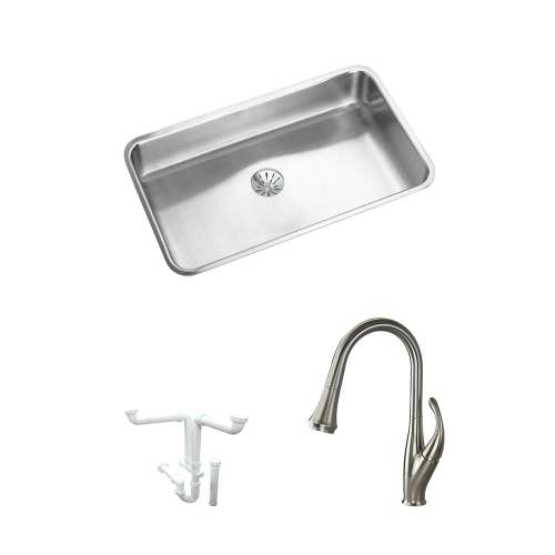 Elkay Gourmet Lustertone Stainless Steel 31-In Undermount Kitchen Sink Kit With Kitchen Sink, Faucet, Bottom Grid, Perfect Drain Edgeless Drain, Drain Installation Kit