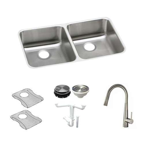 Elkay Gourmet Lustertone Stainless Steel 31-In Undermount Kitchen Sink Kit With Kitchen Sink, Bottom Grids, Faucet, Strainer, Disposer Strainer, Drain Installation Kit