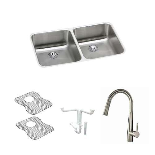 Elkay Gourmet Lustertone Stainless Steel 31-In Undermount Kitchen Sink Kit With Kitchen Sink, Bottom Grids, Faucet, Perfect Drain Edgeless Drain, Drain Installation Kit